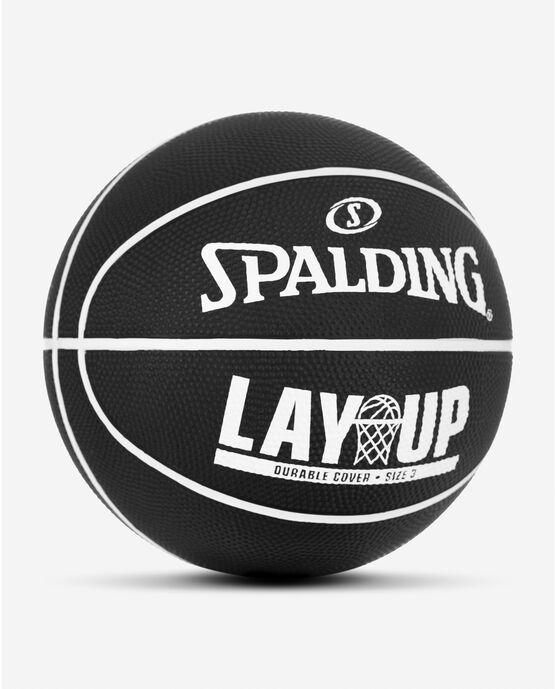 """Layup Mini Black/White Rubber Outdoor Basketball 22"""" Black/White"""
