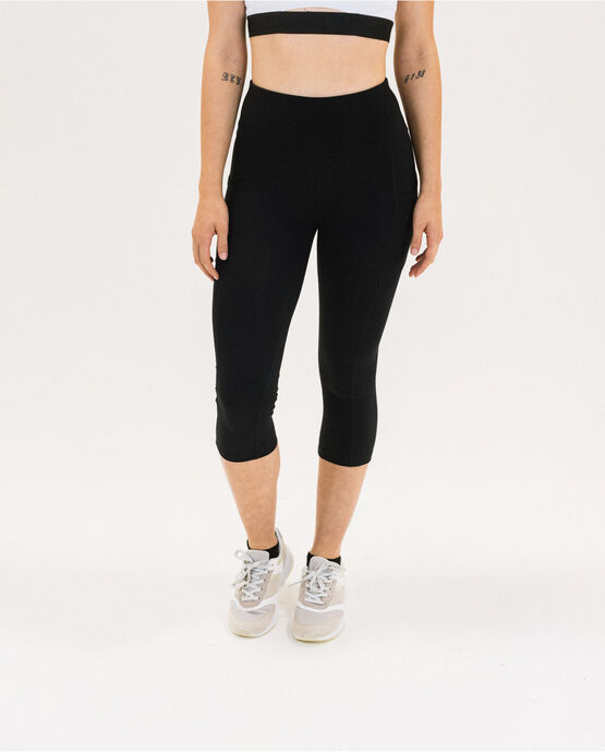 "Women's 19"" Capri Legging with Pockets Black Small BLACK"