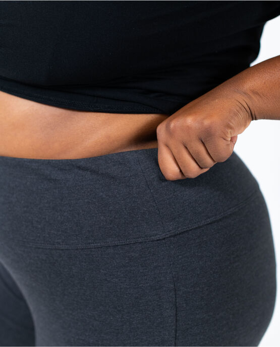 Women's Flare Capri Legging Plus Size Charcoal Heather 2X CHARCOAL HEATHER