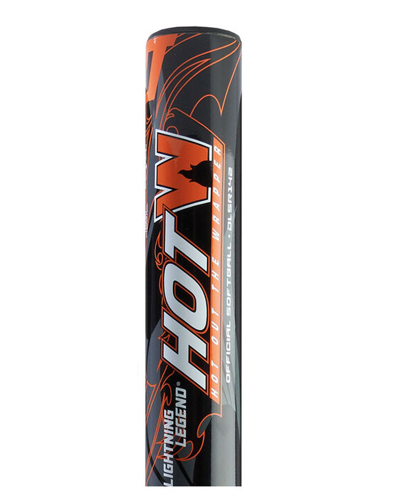 "Lightning Legend HOTW 14"" Barrel 34""/25oz Senior Slowpitch Softball Bat - Black/Orange"