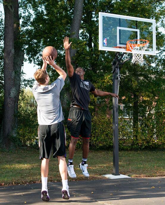 "U-Turn® 54"" Glass In-Ground Basketball Hoop"