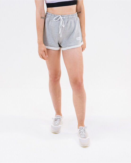 Women's French Terry Cuffed Short Heather Gray Large HEATHER GRAY