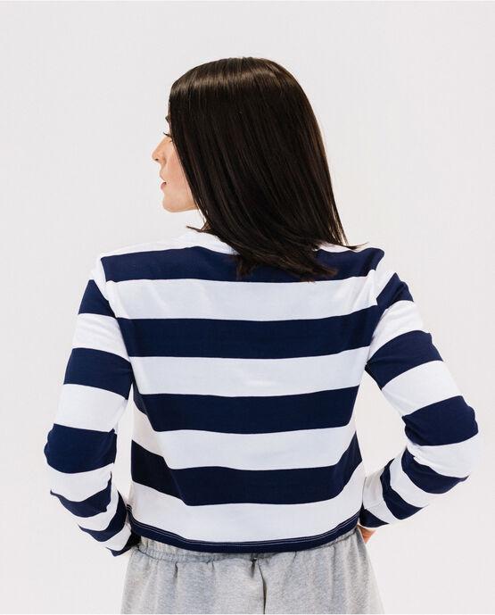 Women's Heritage Cotton Long Sleeve Cropped T-Shirt Peacoat/White Medium PEACOAT/WHITE
