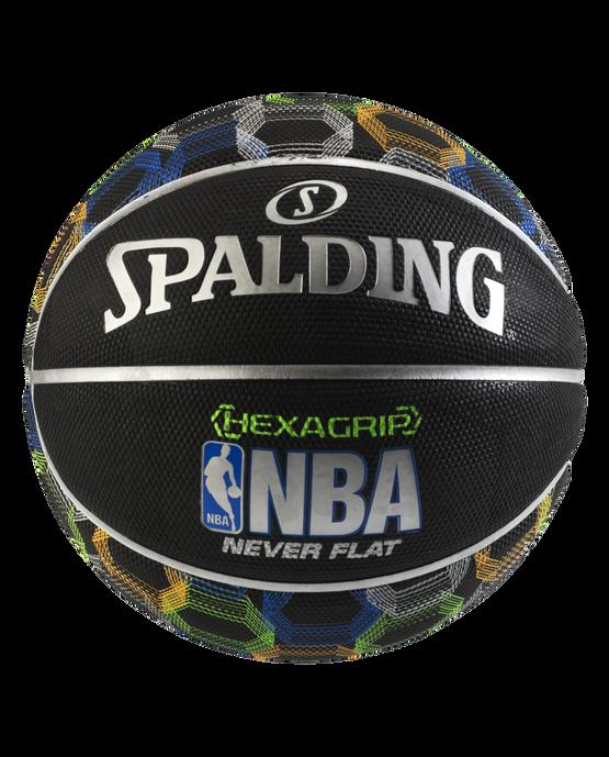 NBA Neverflat® Hexagrip™ Black Basketball With Graphic Digital Graphic